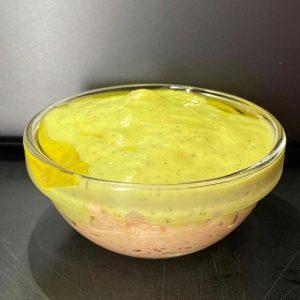 Changurro con crema de calabacín