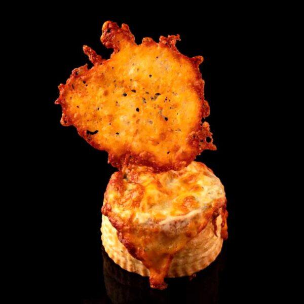 Volovan gratinado de espinacas y queso crujiente